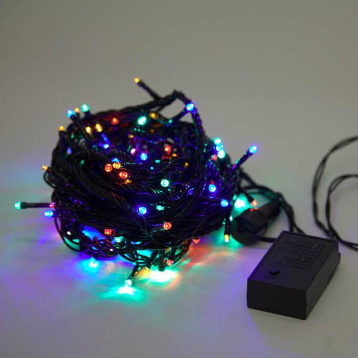 Светодиодная гирлянда Нить 220V разноцветная с мерцанием 05-1980 LED-2W-BS100-10-220-M-CON