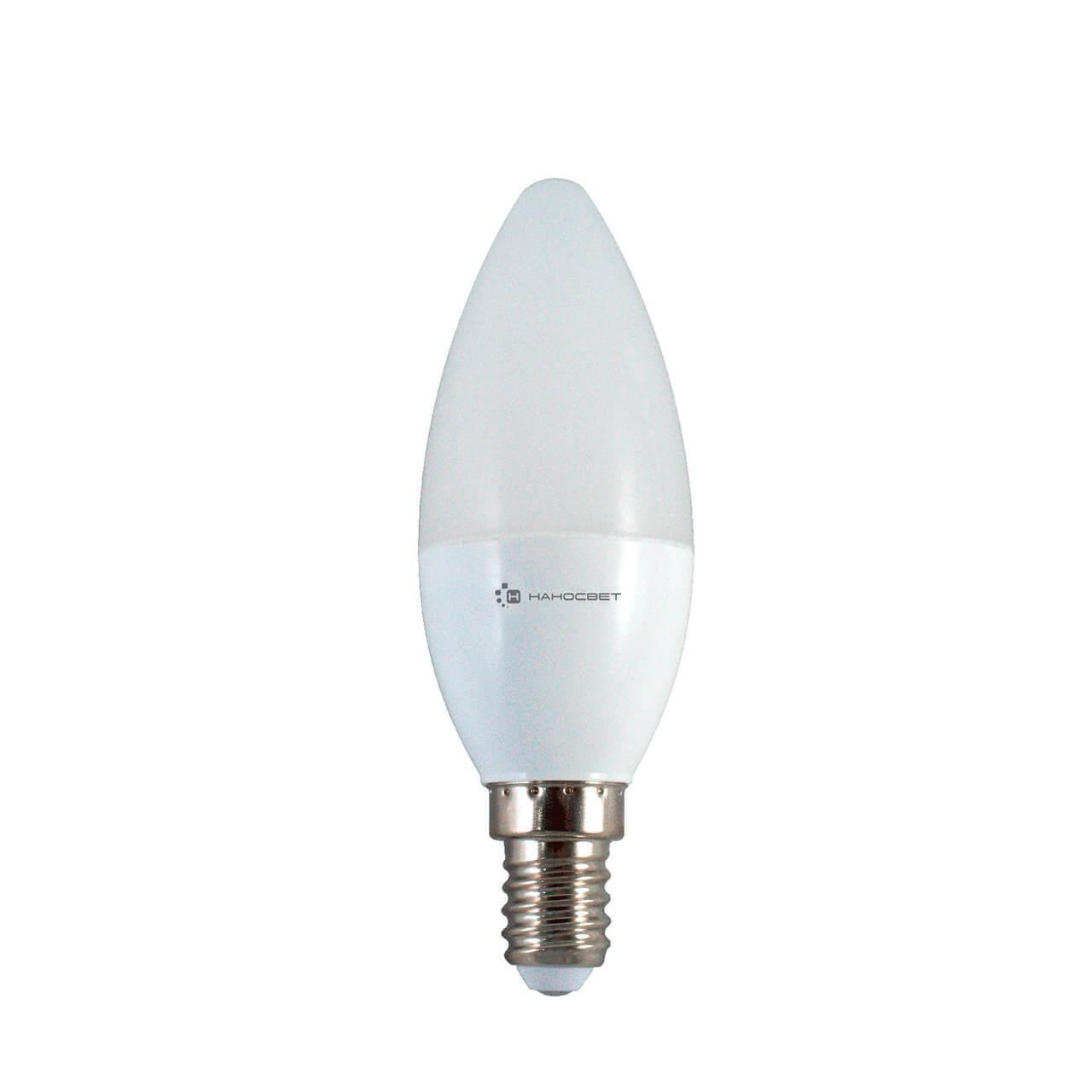 Лампа светодиодная Наносвет E14 6W 2700K матовая LE-CD-6/E14/827 L250 лампа светодиодная e27 6w 2700k свеча матовая le cd 6 e27 827 l252