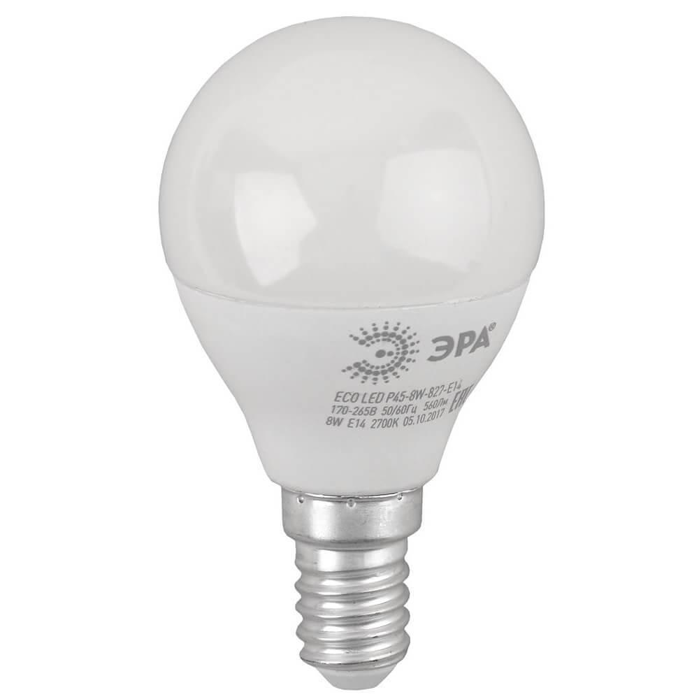 Лампа светодиодная ЭРА E14 8W 2700K матовая ECO LED P45-8W-827-E14 цена и фото