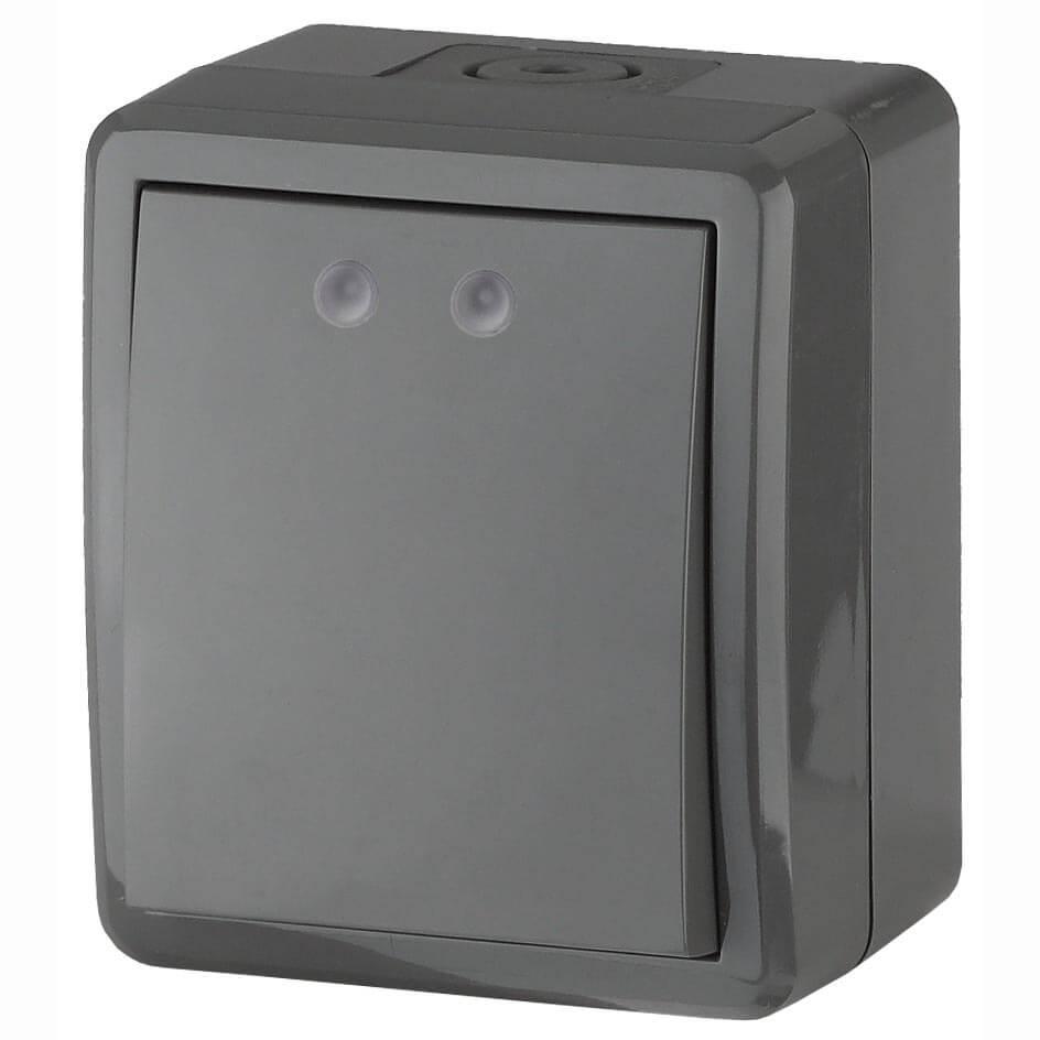 Выключатель одноклавишный с подсветкой ЭРА Эксперт 10AX 250V IP54 11-1402-03