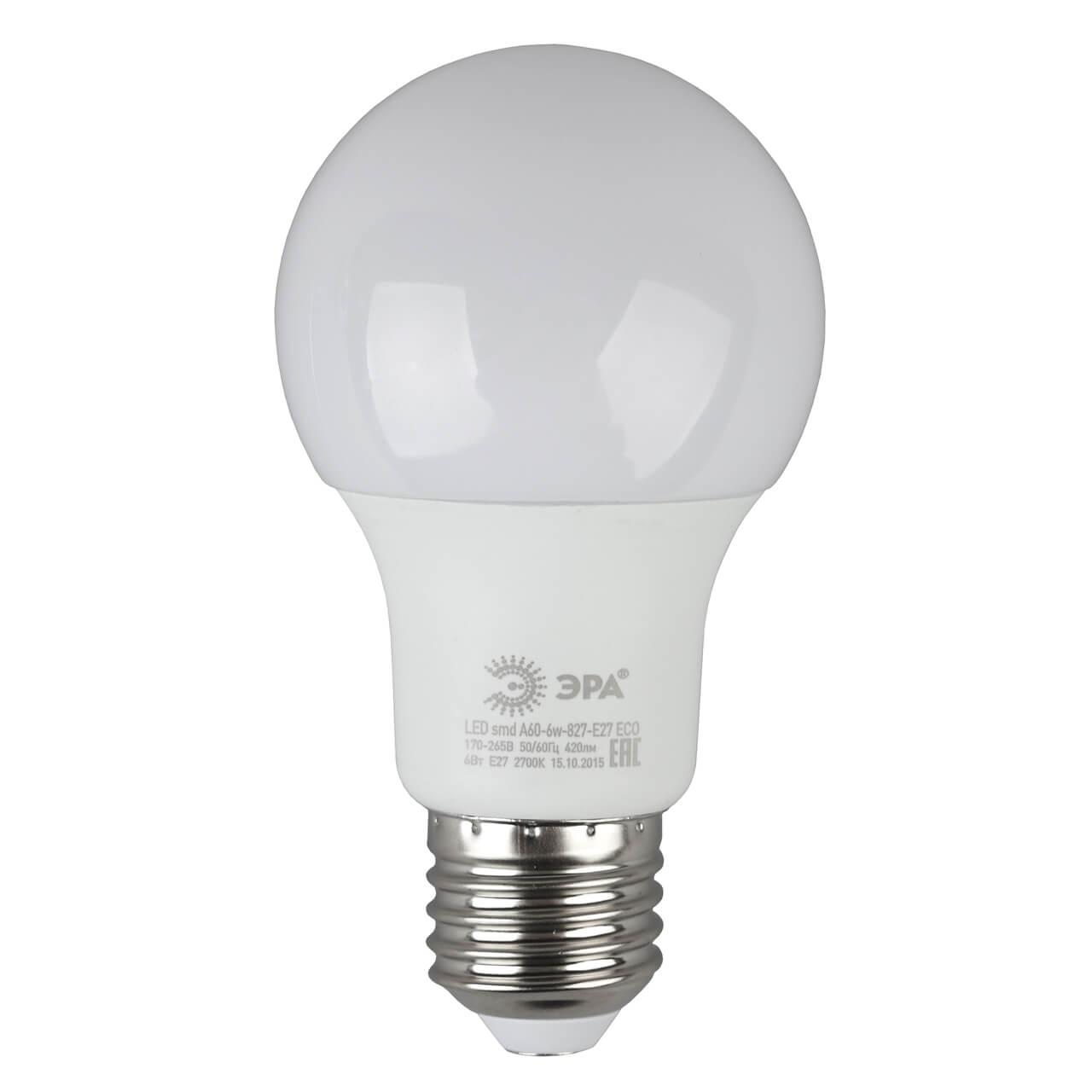 Лампа светодиодная ЭРА E27 6W 2700K матовая ECO LED A60-6W-827-E27 лампа светодиодная e27 6w 2700k свеча матовая le cd 6 e27 827 l252