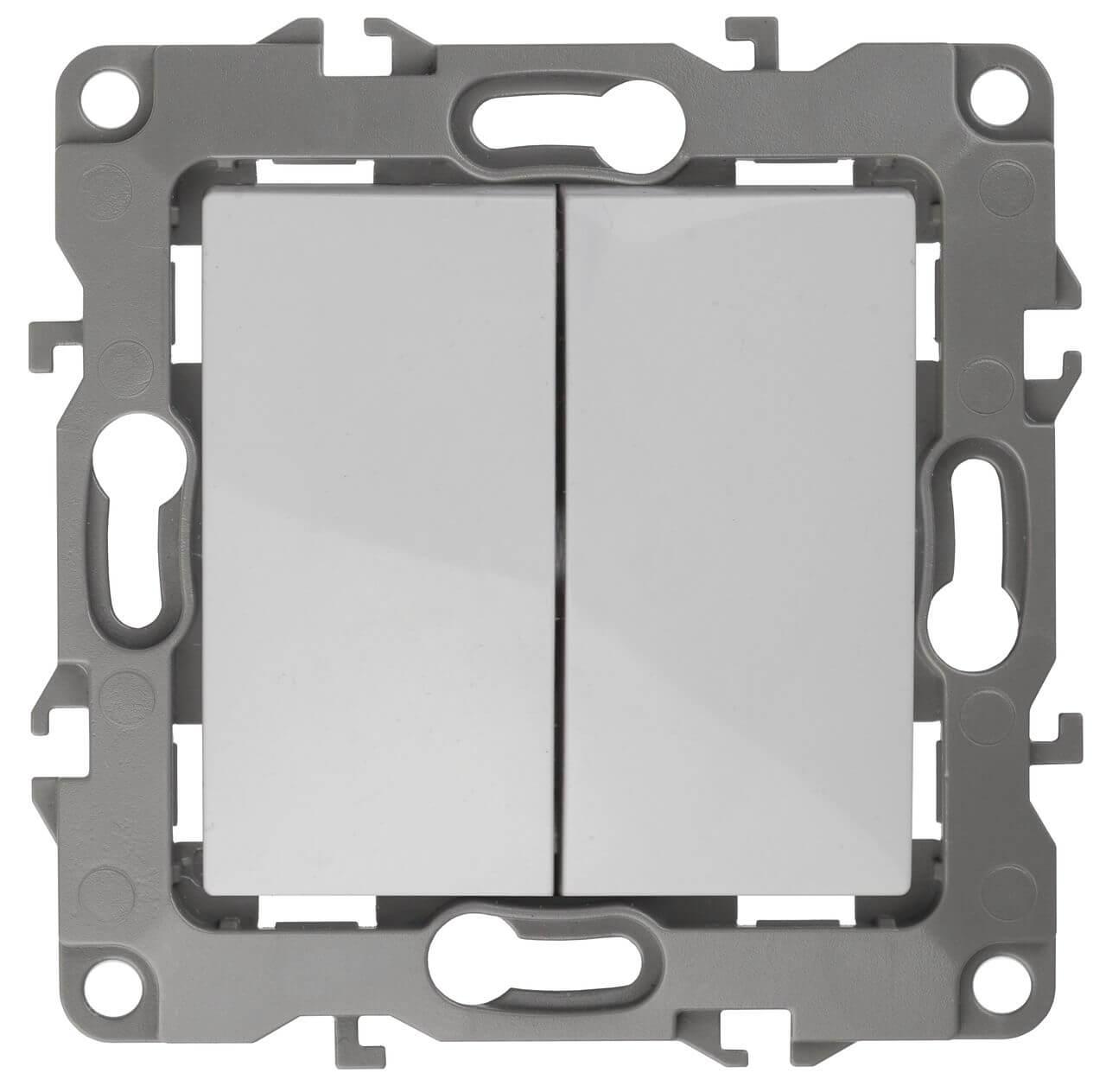 Выключатель двухклавишный ЭРА 12 10AX 250V Al Cu 12А-1004-01