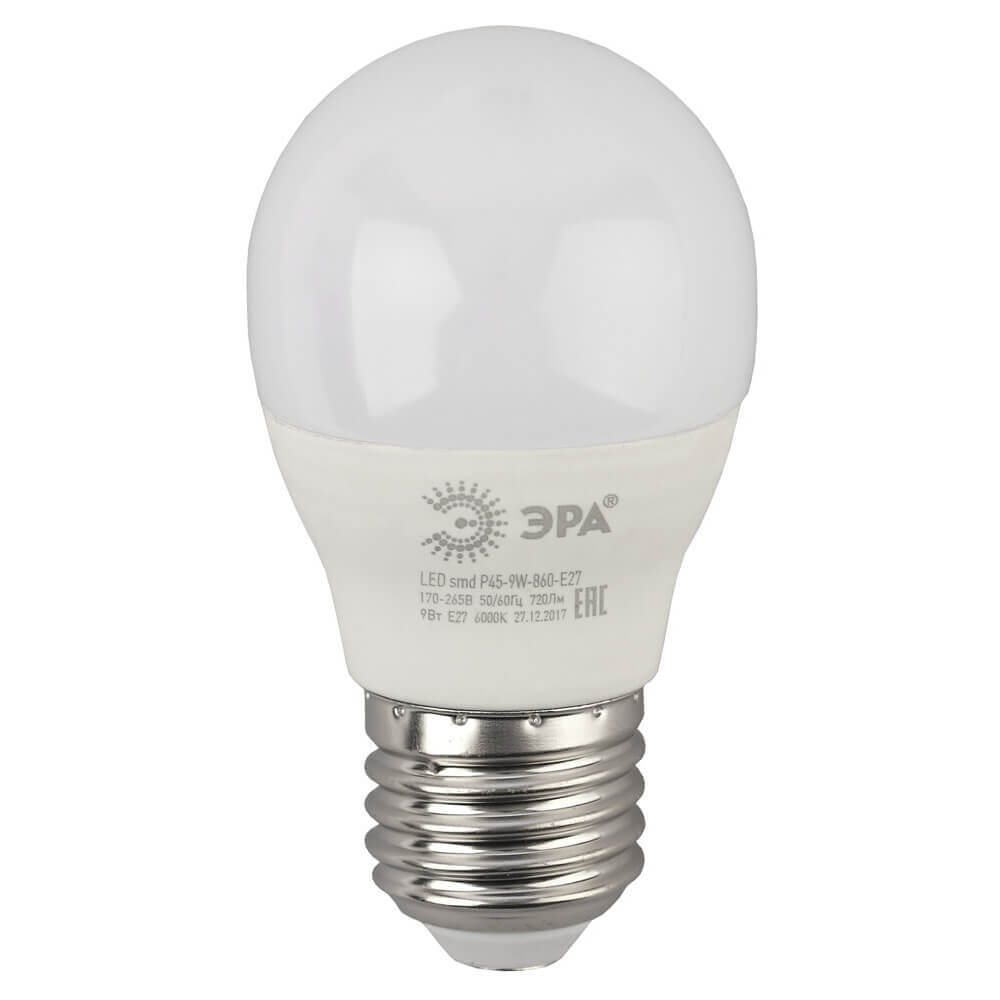 Лампочка ЭРА LED P45-9W-860-E27 LED P45 лампа светодиодная led p45 9w 827 e27