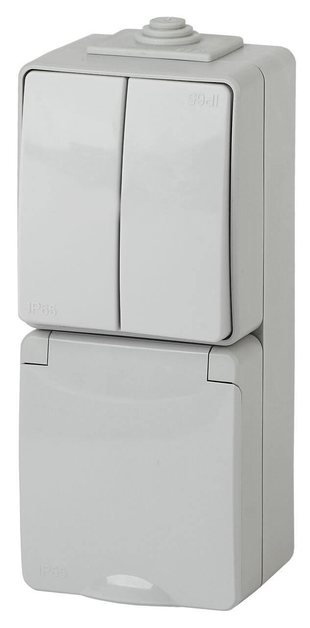 цена на Блок розетка-выключатель двухклавишный ЭРА Эксперт IP65 16A 250V 11-7608-03