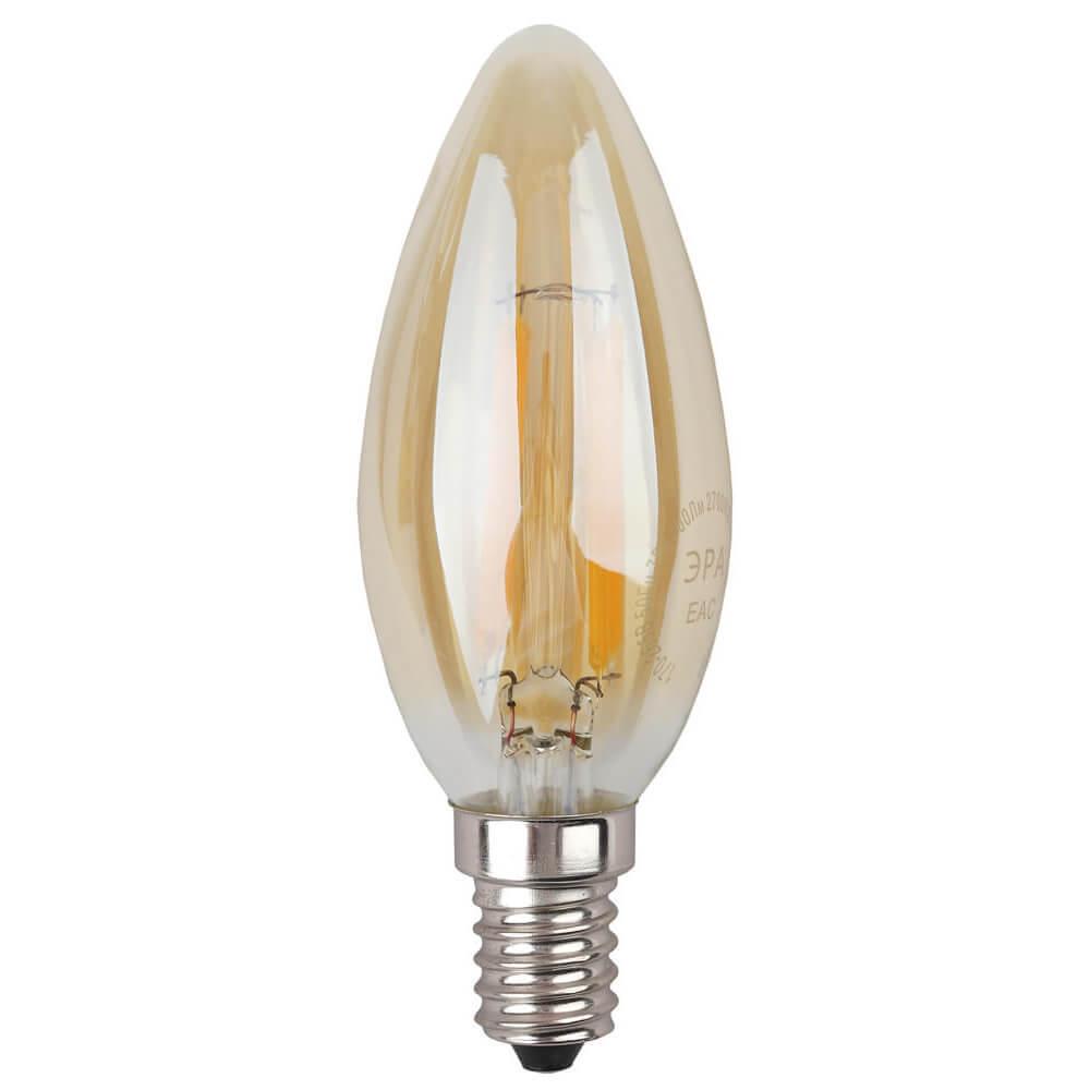 купить Лампа светодиодная филаментная ЭРА E14 5W 2700K золотая F-LED B35-5W-827-E14 gold дешево