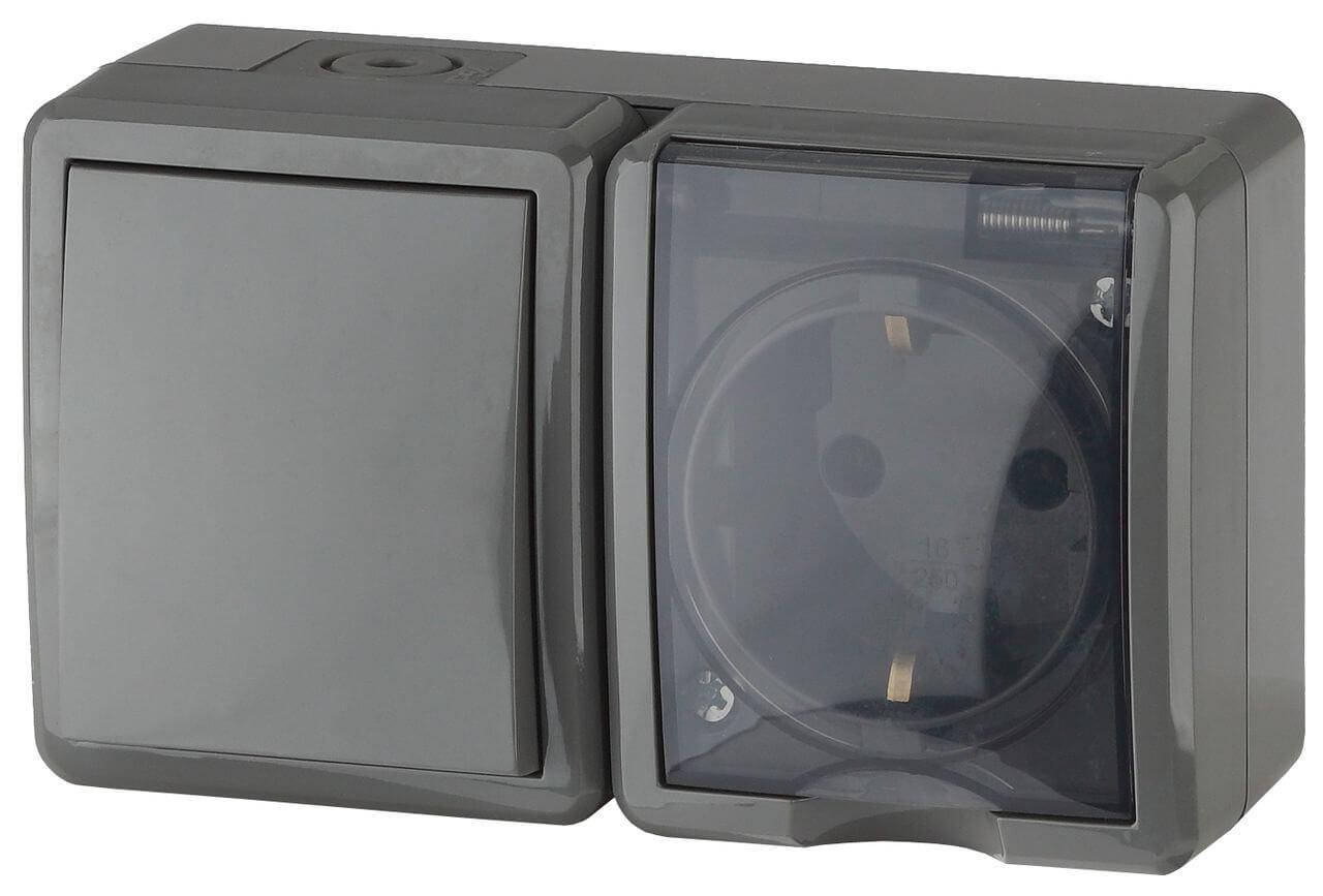 Блок розетка-выключатель ЭРА Эксперт IP54 16A 250V 11-7401-03