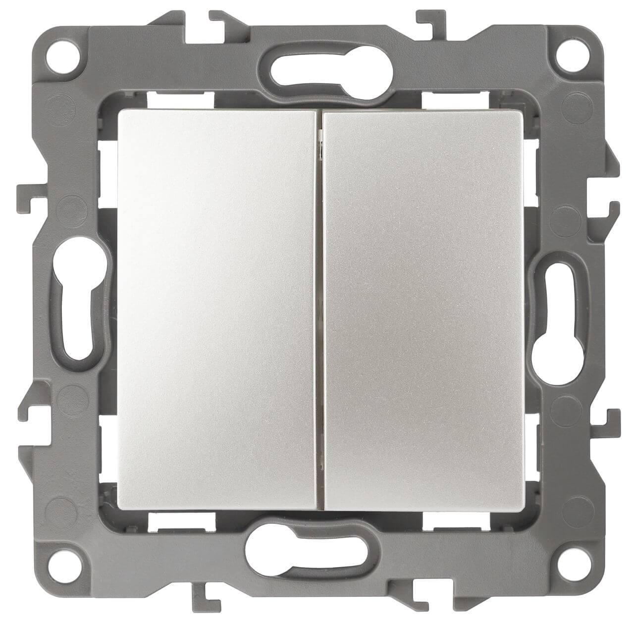 Выключатель двухклавишный ЭРА 12 10AX 250V 12-1004-15 грабли бцм 1004 12 ч