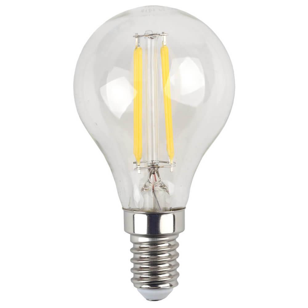 Лампа светодиодная филаментная ЭРА E14 7W 2700K прозрачная F-LED P45-7W-827-E14 цена и фото