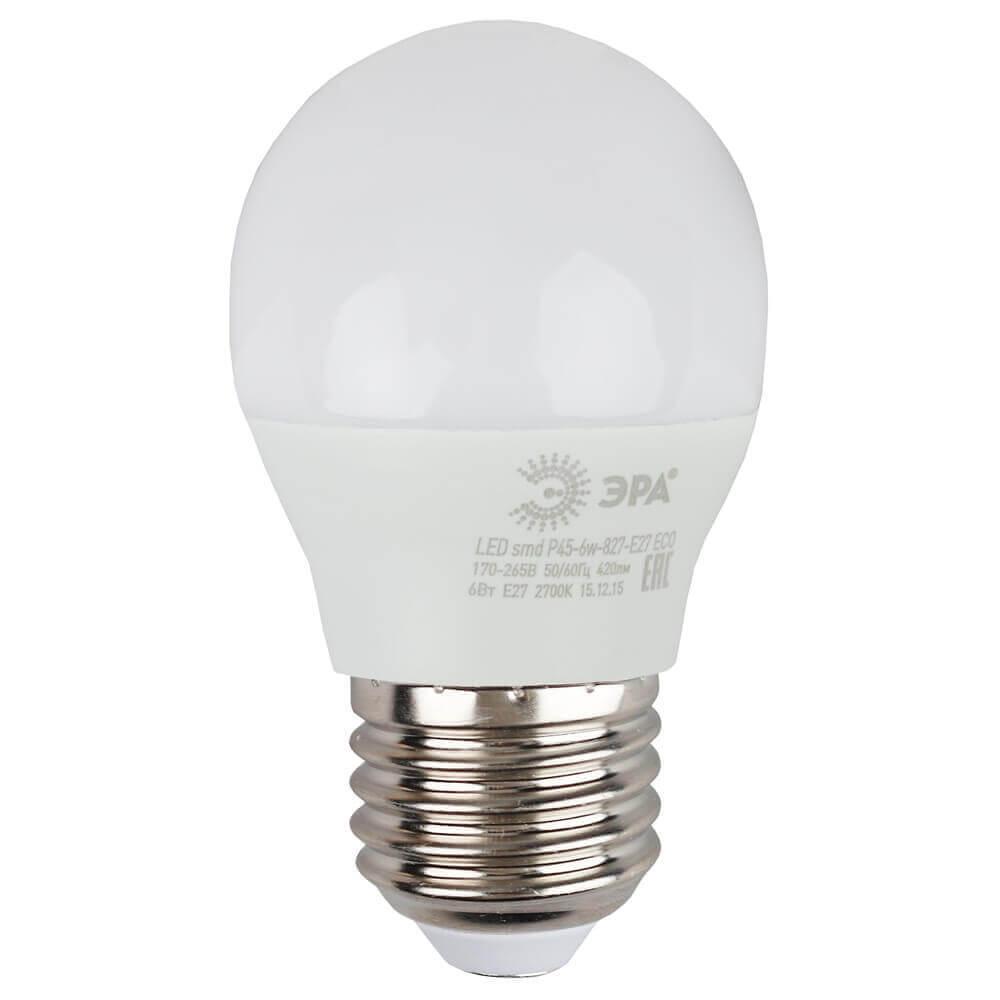 Лампа светодиодная ЭРА E27 6W 2700K матовая ECO LED P45-6W-827-E27 лампа светодиодная e27 6w 2700k свеча матовая le cd 6 e27 827 l252