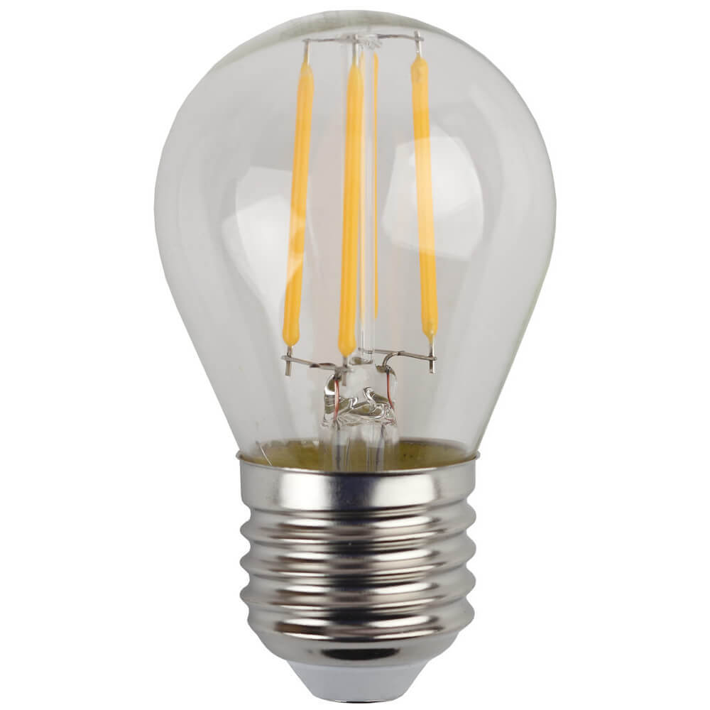 Лампа светодиодная филаментная ЭРА E27 7W 4000K прозрачная F-LED P45-7W-840-E27 цена и фото