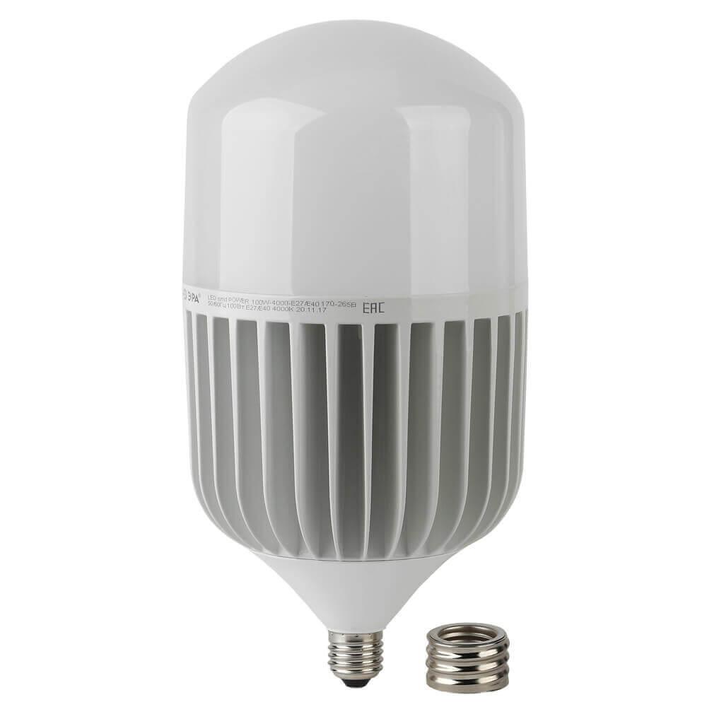 цена на Лампа светодиодная ЭРА E27/E40 100W 4000K матовая LED POWER T160-100W-4000-E27/E40
