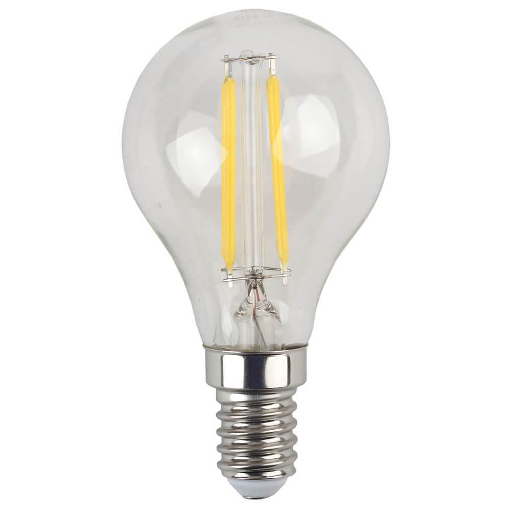 Лампа светодиодная филаментная ЭРА E14 7W 4000K прозрачная F-LED P45-7W-840-E14 цена и фото