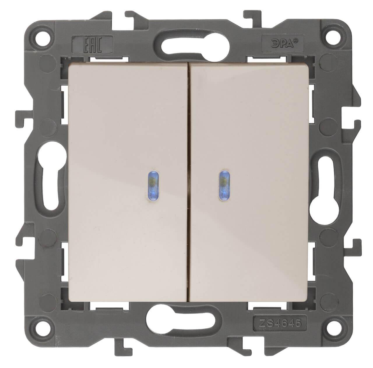 Выключатель двухклавишный с подсветкой ЭРА Elegance 10AX 250V 14-1105-02 цены