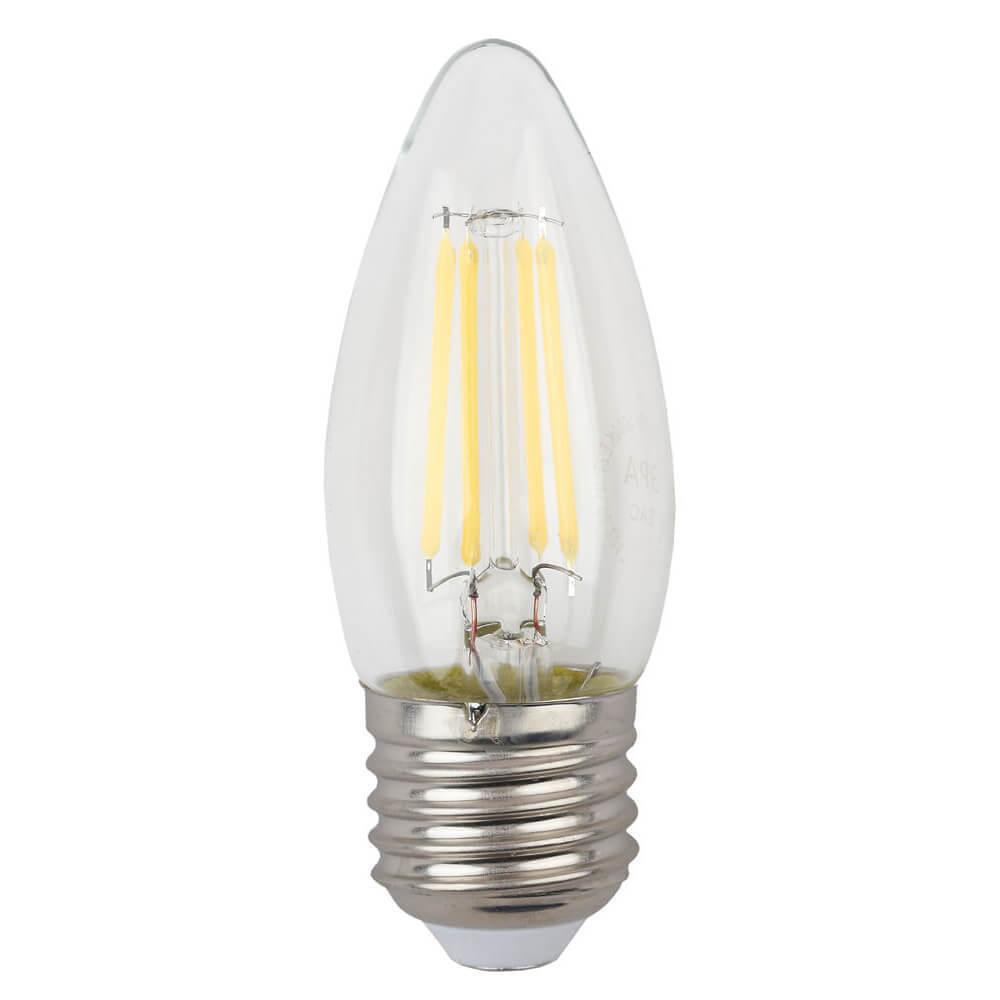 купить Лампа светодиодная филаментная ЭРА E27 5W 4000K прозрачная F-LED B35-5W-840-E27 дешево