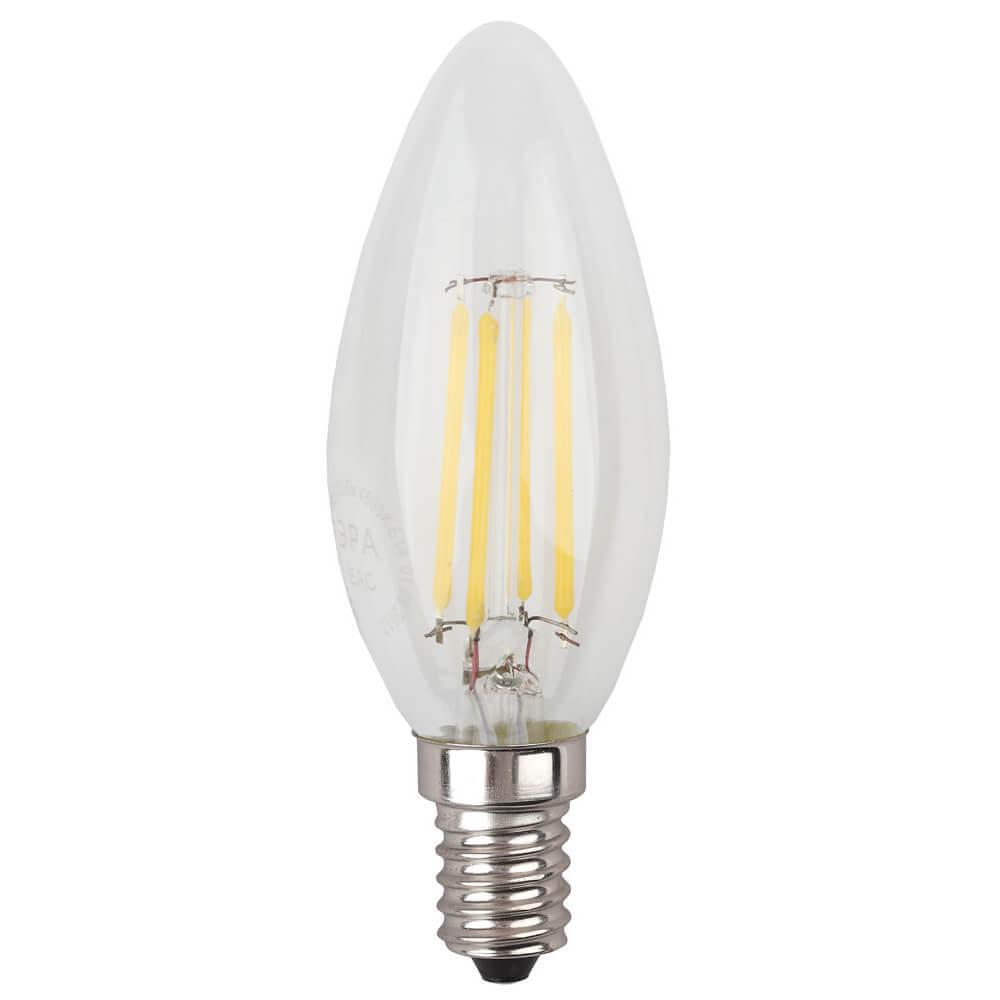 Лампа светодиодная филаментная ЭРА E14 7W 2700K прозрачная F-LED B35-7W-827-E14 стоимость