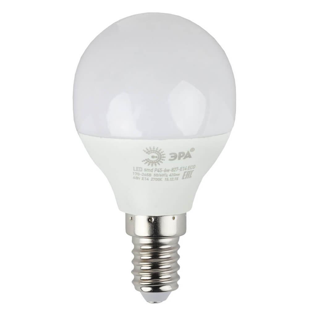 Лампа светодиодная ЭРА E14 6W 4000K матовая ECO LED P45-6W-840-E14