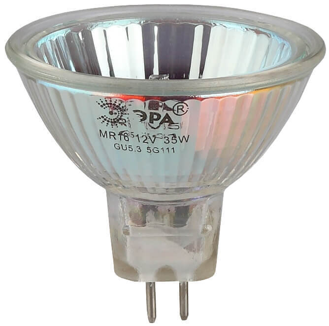 цена на Лампа галогенная ЭРА GU5.3 50W 2700K прозрачная GU5.3-JCDR (MR16) -50W-230V-CL