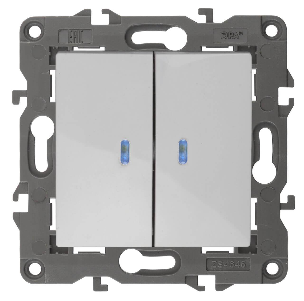 Выключатель двухклавишный с подсветкой ЭРА Elegance 10AX 250V 14-1105-01 цены