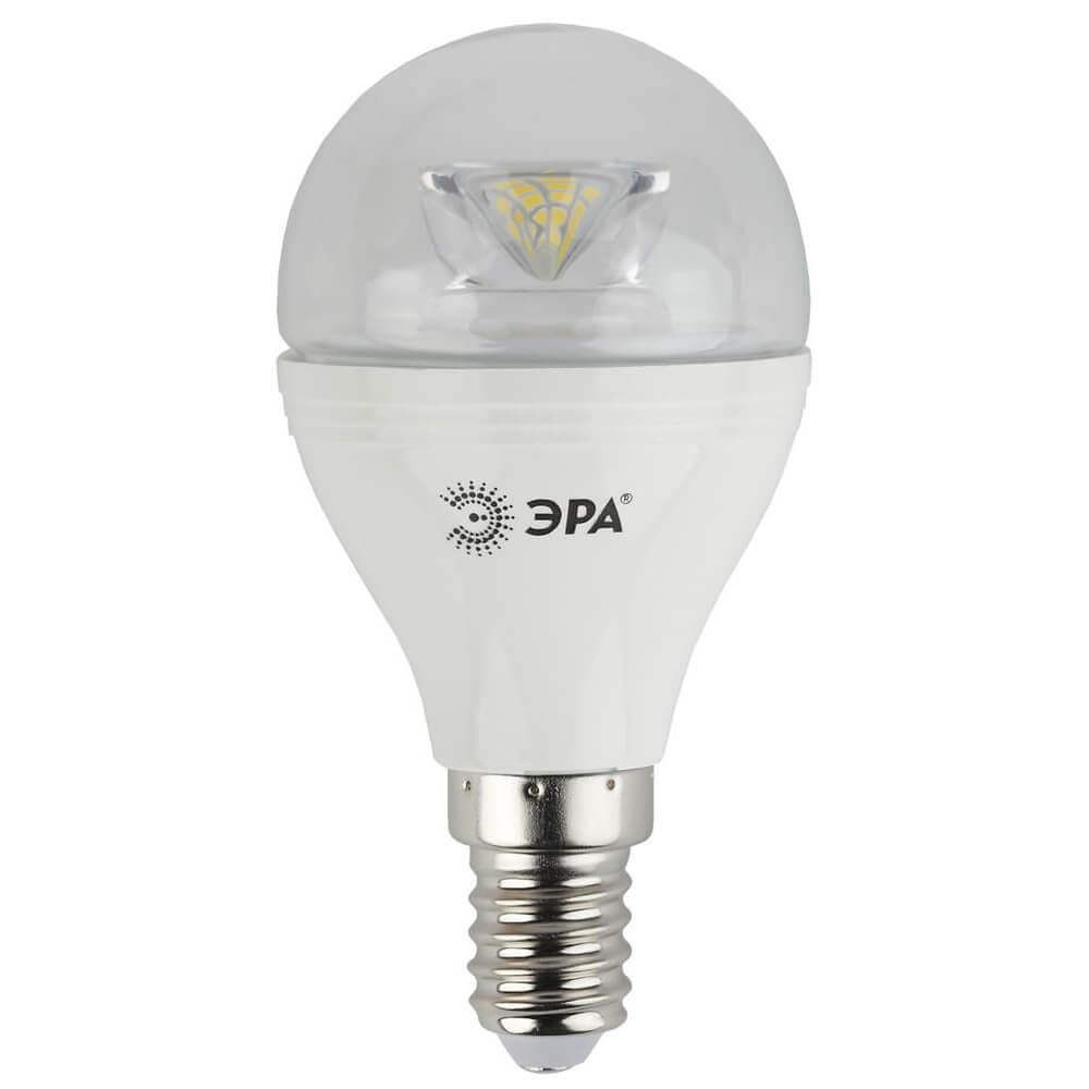 Лампа светодиодная ЭРА E14 7W 4000K прозрачная LED P45-7W-840-E14-Clear цена и фото