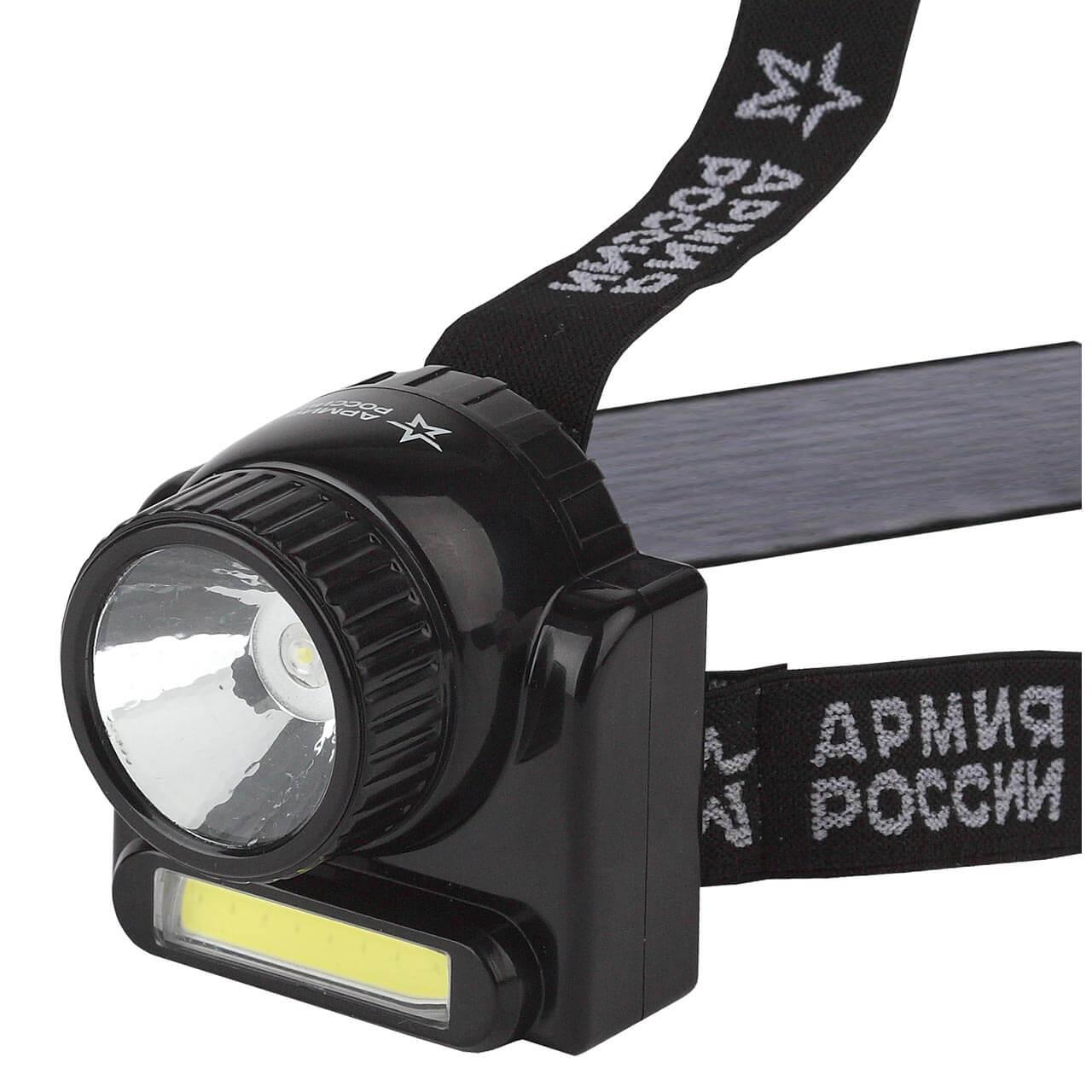 Налобный светодиодный фонарь ЭРА Армия России Гранит аккумуляторный 72x70 176 лм GA-501