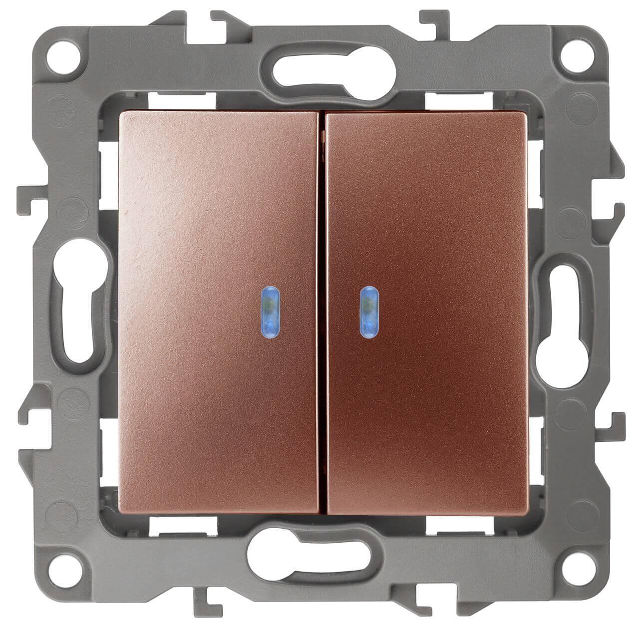 Выключатель двухклавишный с подсветкой ЭРА 12 10AX 250V 12-1105-14 цены