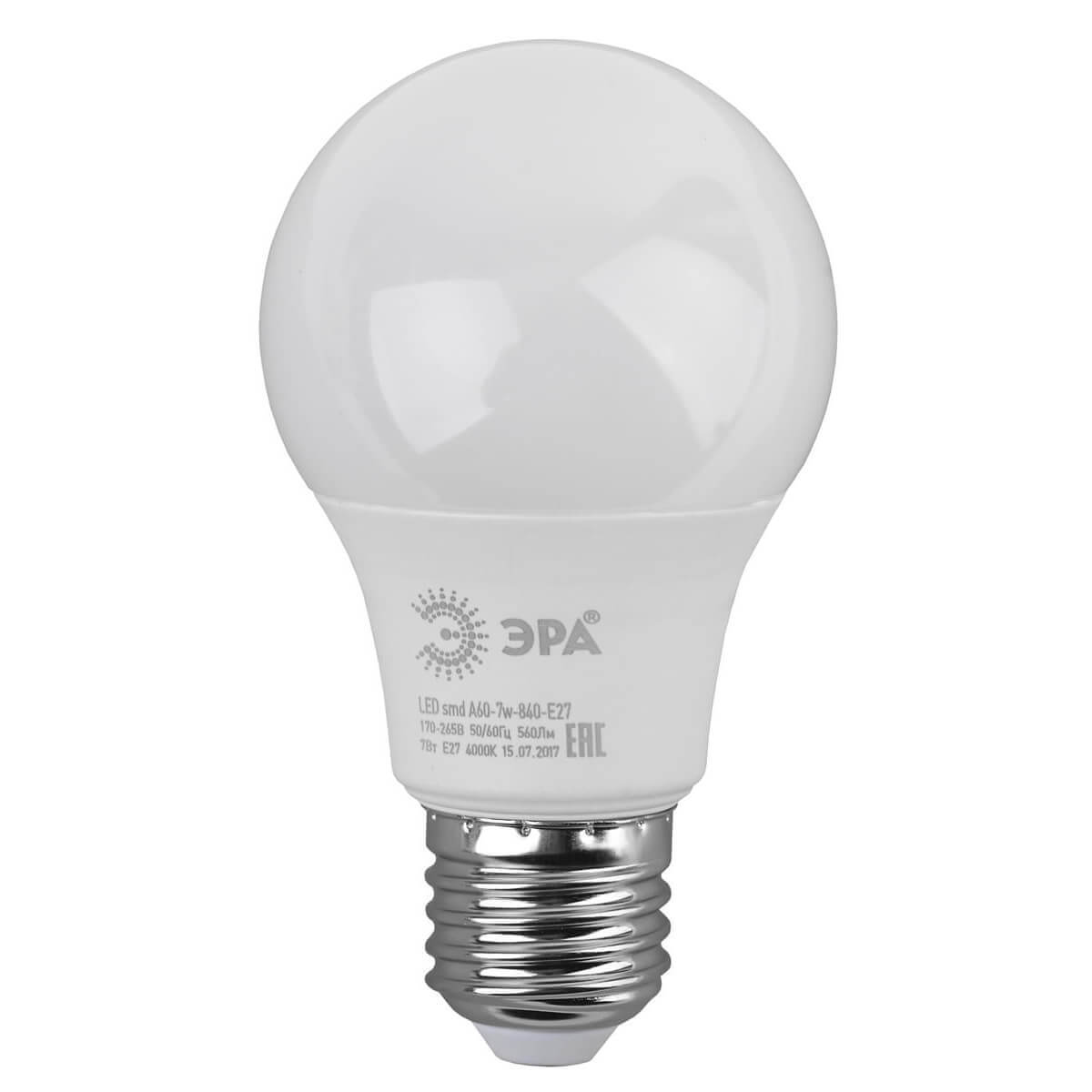 Лампа светодиодная ЭРА E27 7W 4000K матовая LED A60-7W-840-E27