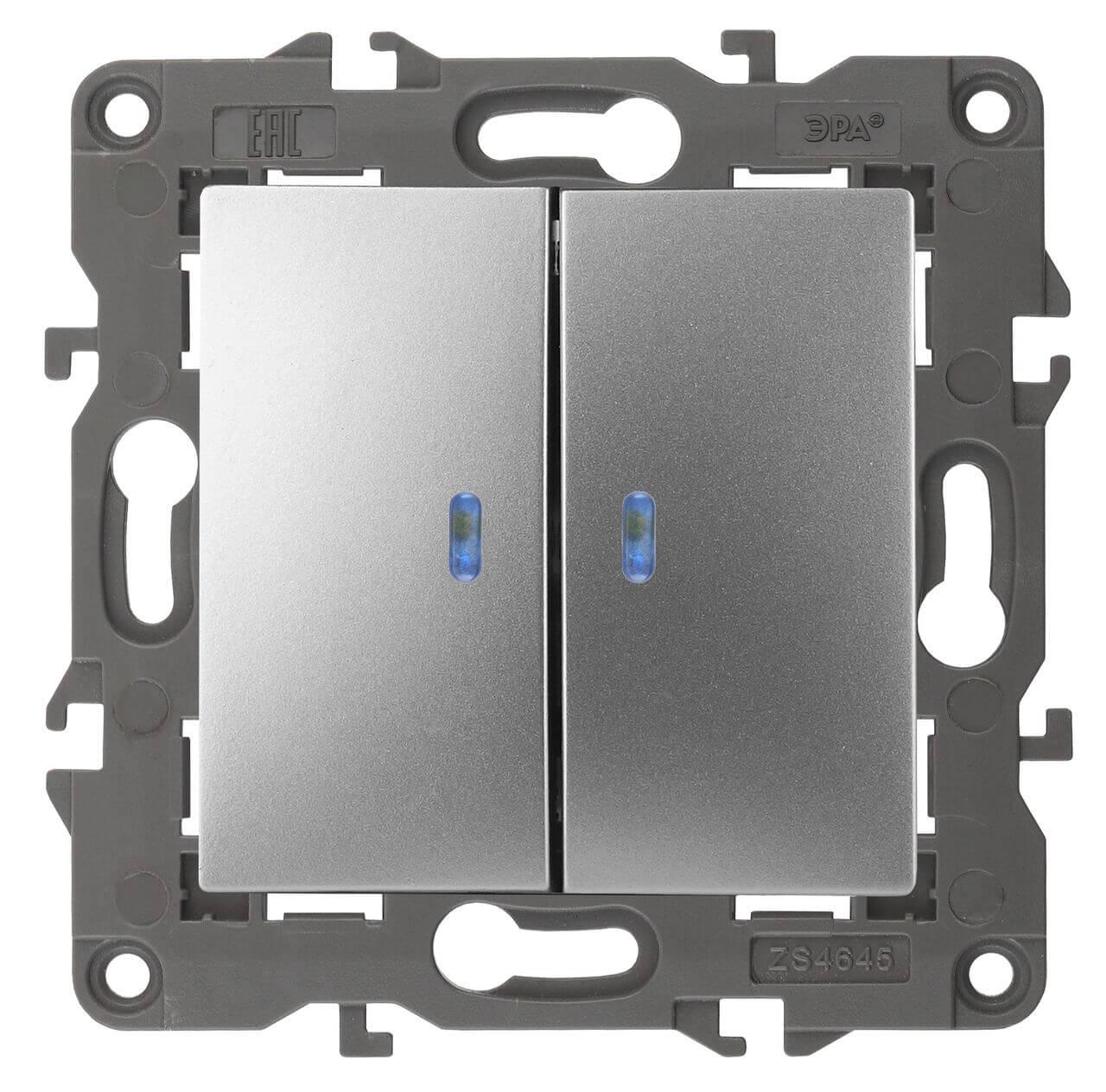 Выключатель двухклавишный с подсветкой ЭРА Elegance 10AX 250V 14-1105-03 цены