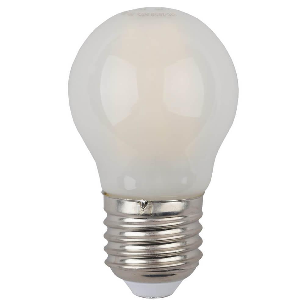 Лампа светодиодная филаментная ЭРА E27 7W 4000K матовая F-LED P45-7W-840-E27 frost цена и фото