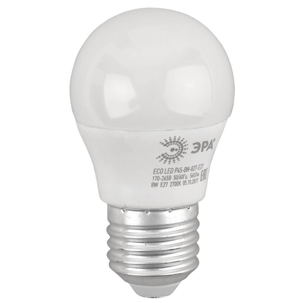 Лампочка ЭРА ECO LED P45-8W-827-E27 ECO LED P45 лампа светодиодная led p45 9w 827 e27