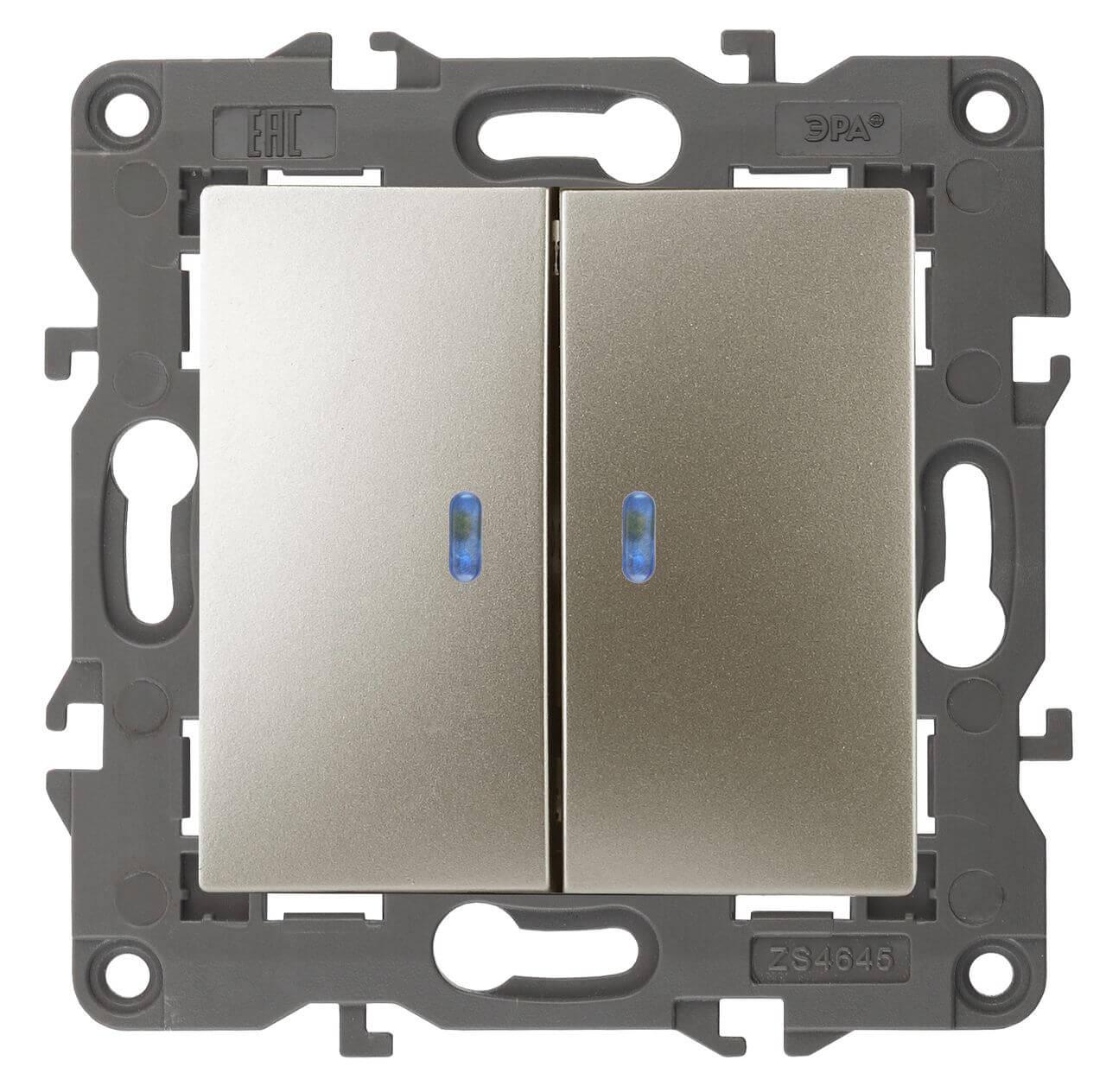 Выключатель двухклавишный с подсветкой ЭРА Elegance 10AX 250V 14-1105-04 цены
