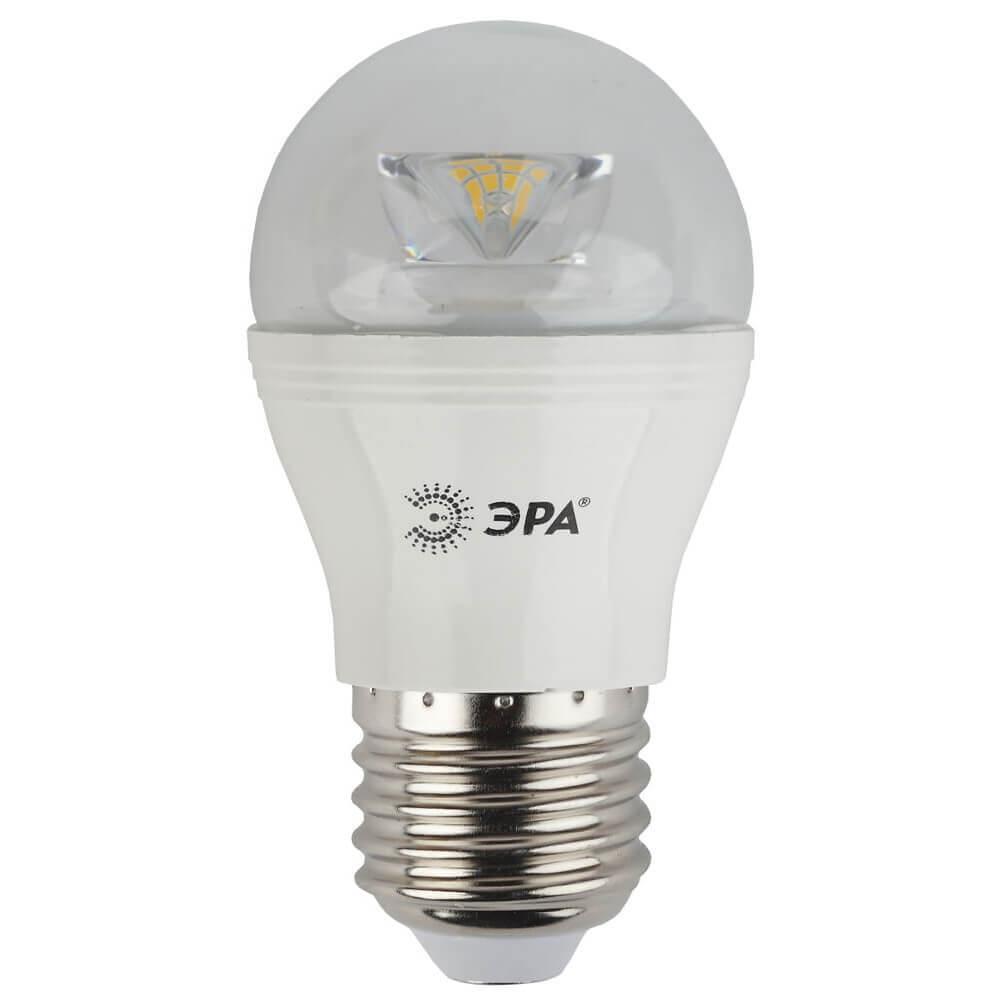 Лампа светодиодная ЭРА E27 7W 4000K прозрачная LED P45-7W-840-E27-Clear цена и фото
