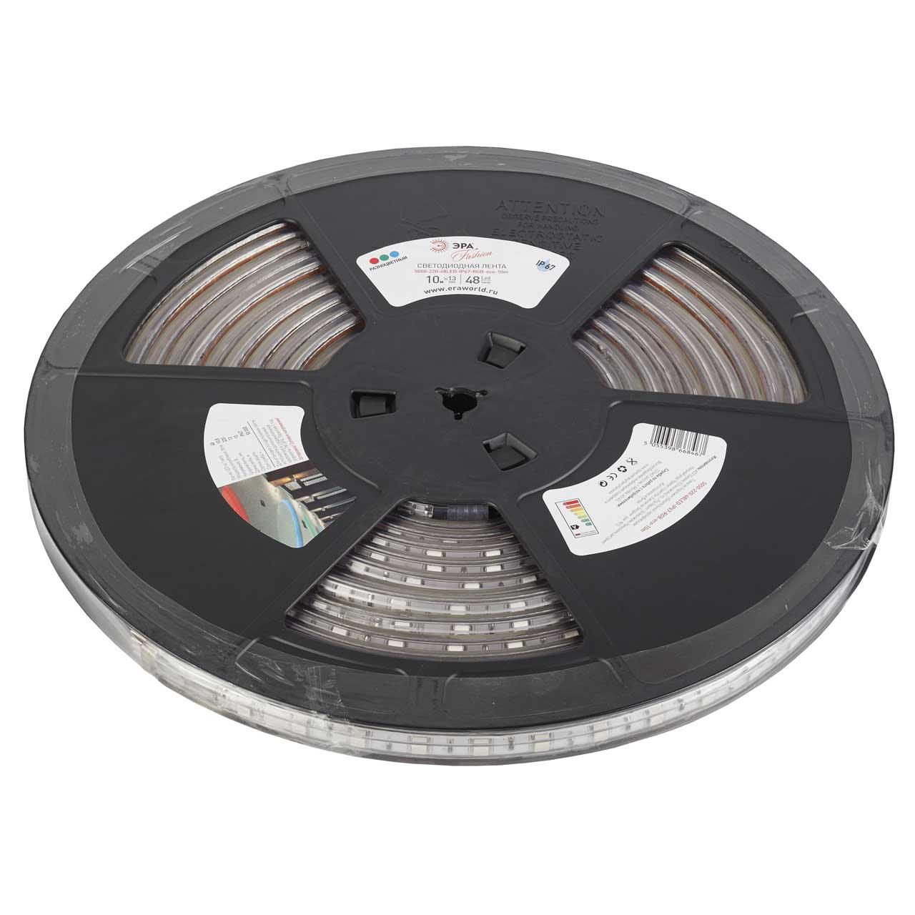 цена на Светодиодная влагозащищенная лента ЭРА 10,8W/m 48LED/m 5050SMD RGB 10M 5050-220-48LED-IP67-RGB- eco-10m
