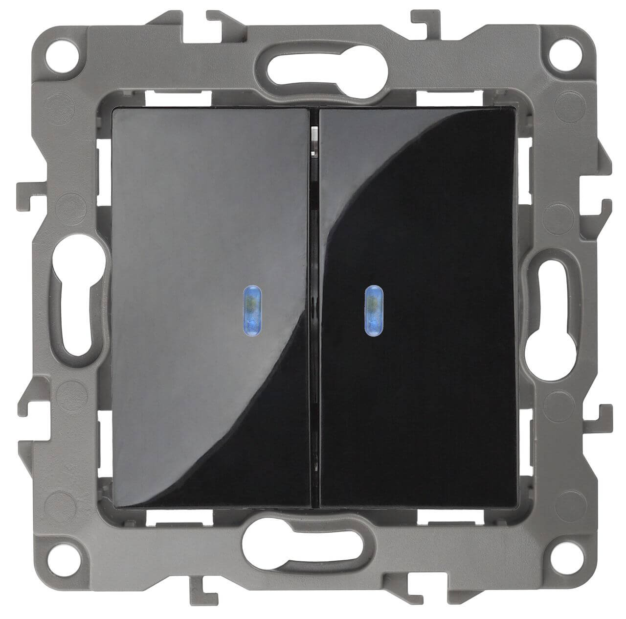 Выключатель двухклавишный с подсветкой ЭРА 12 10AX 250V 12-1105-06 цены