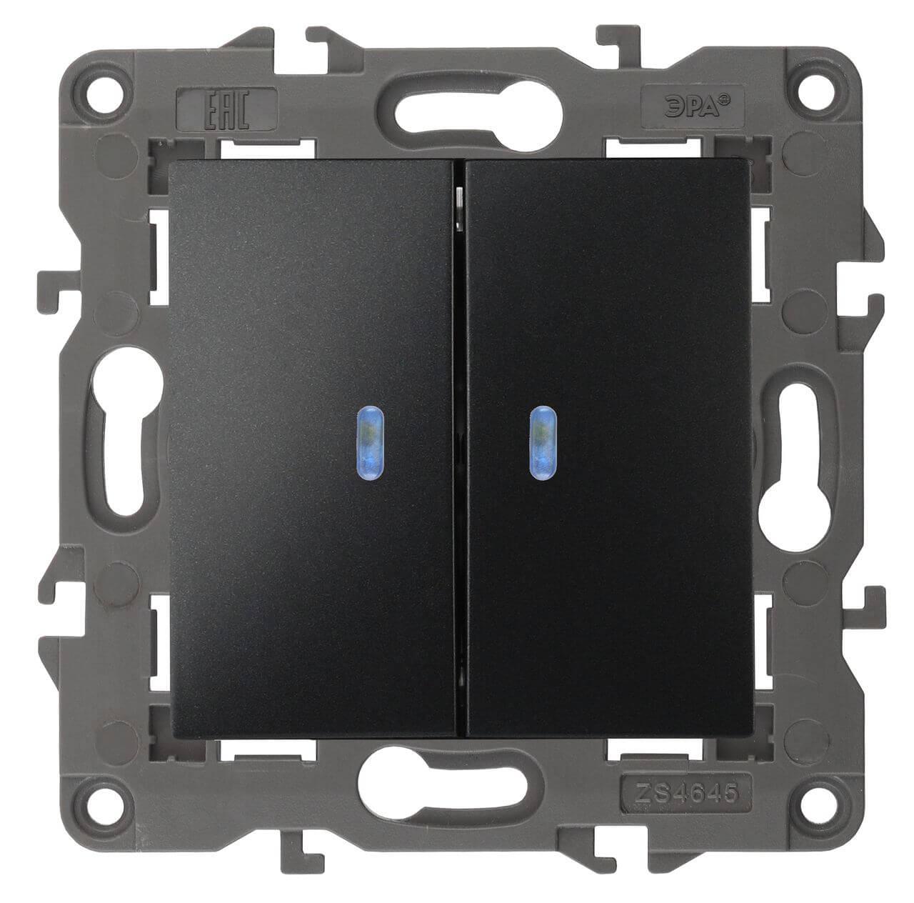 Выключатель двухклавишный с подсветкой ЭРА Elegance 10AX 250V 14-1105-05 цены