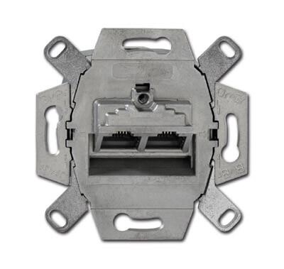 Розетка компьютерная 2хRJ45 ABB BJE 8/8 полюсов раздельно 6e кат 2CKA000230A0412