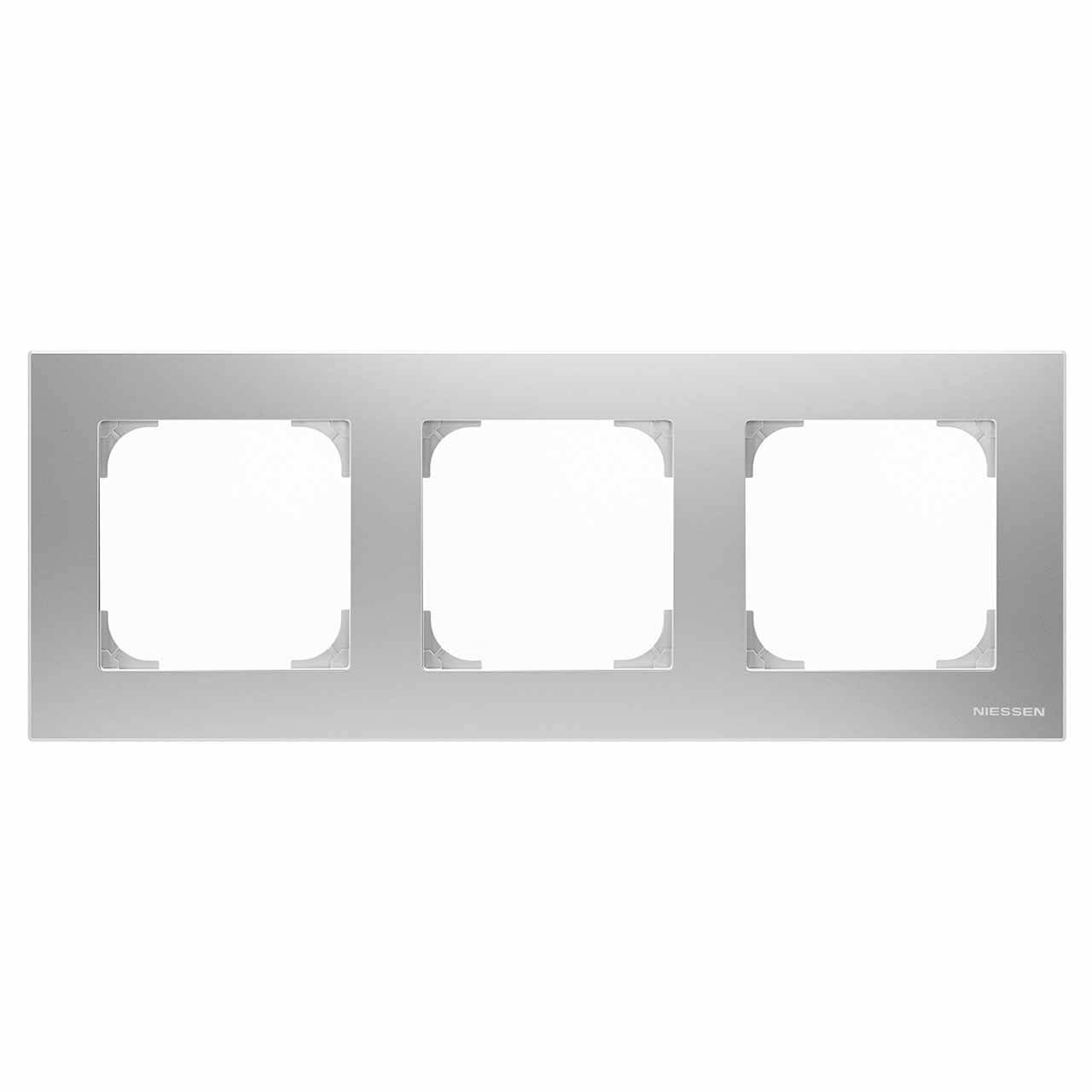 Рамка 3-постовая ABB Sky серебристый алюминий 2CLA857300A1301