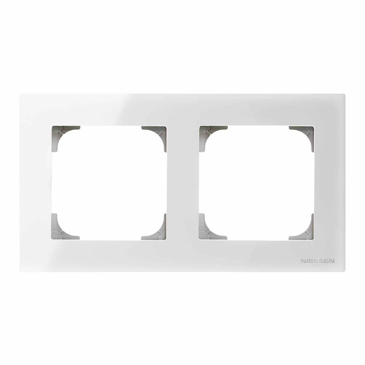 Рамка 2-постовая ABB Sky стекло белое 2CLA857200A3001