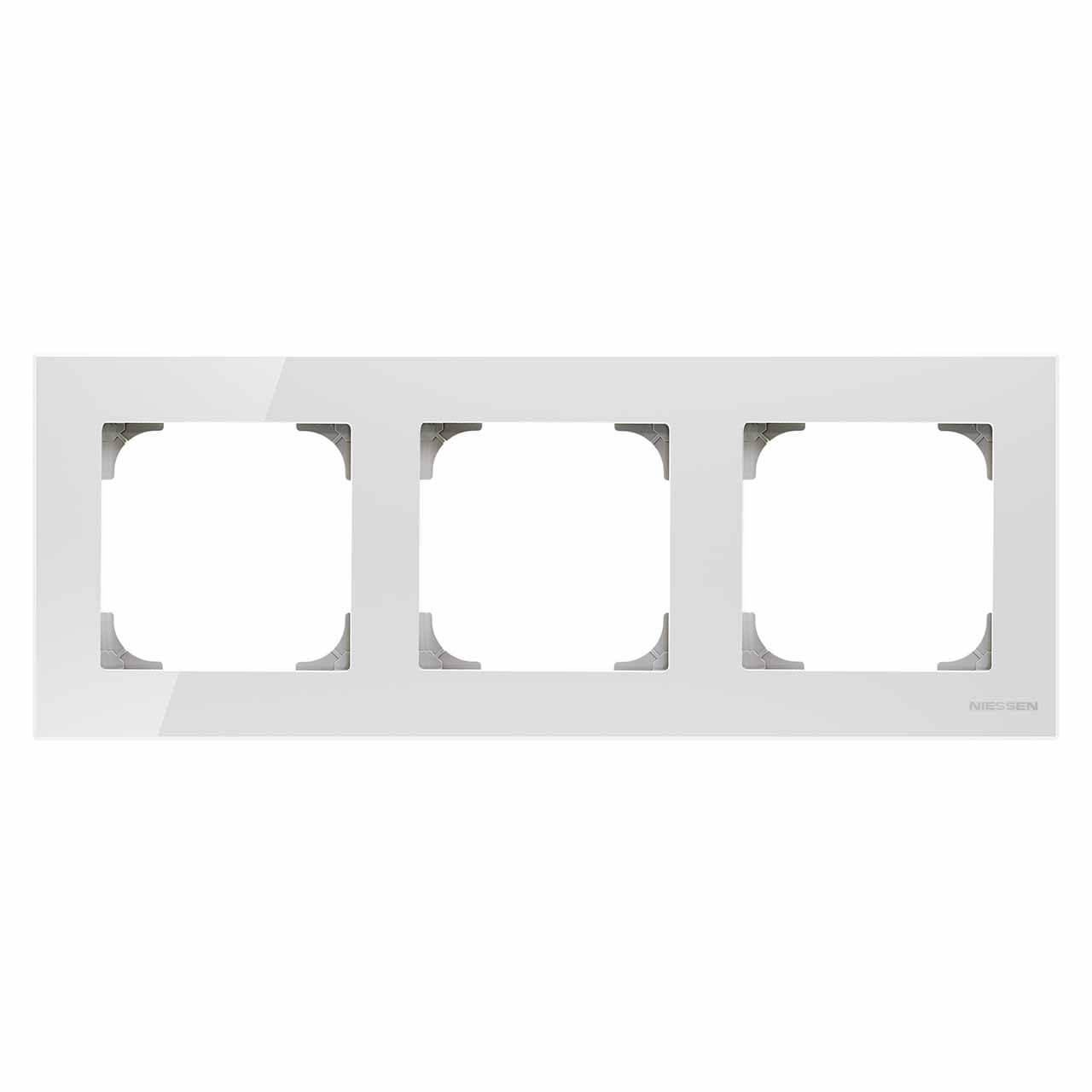 Рамка 3-постовая ABB Sky стекло белое 2CLA857300A3001