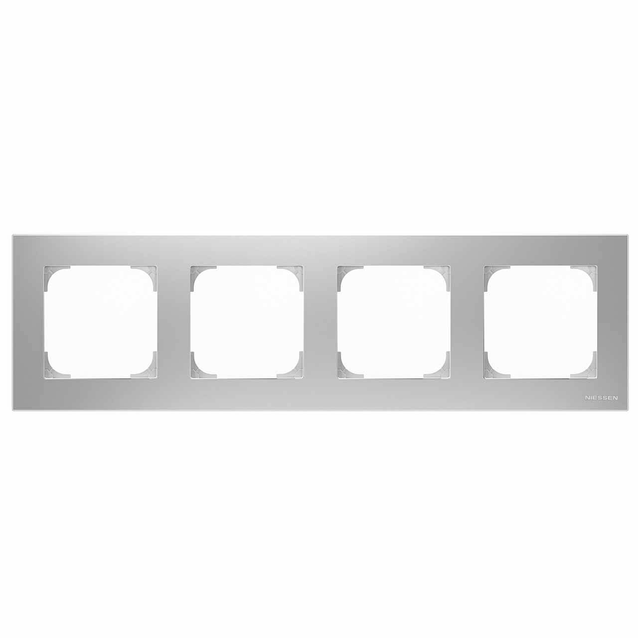 Рамка 4-постовая ABB Sky серебристый алюминий 2CLA857400A1301