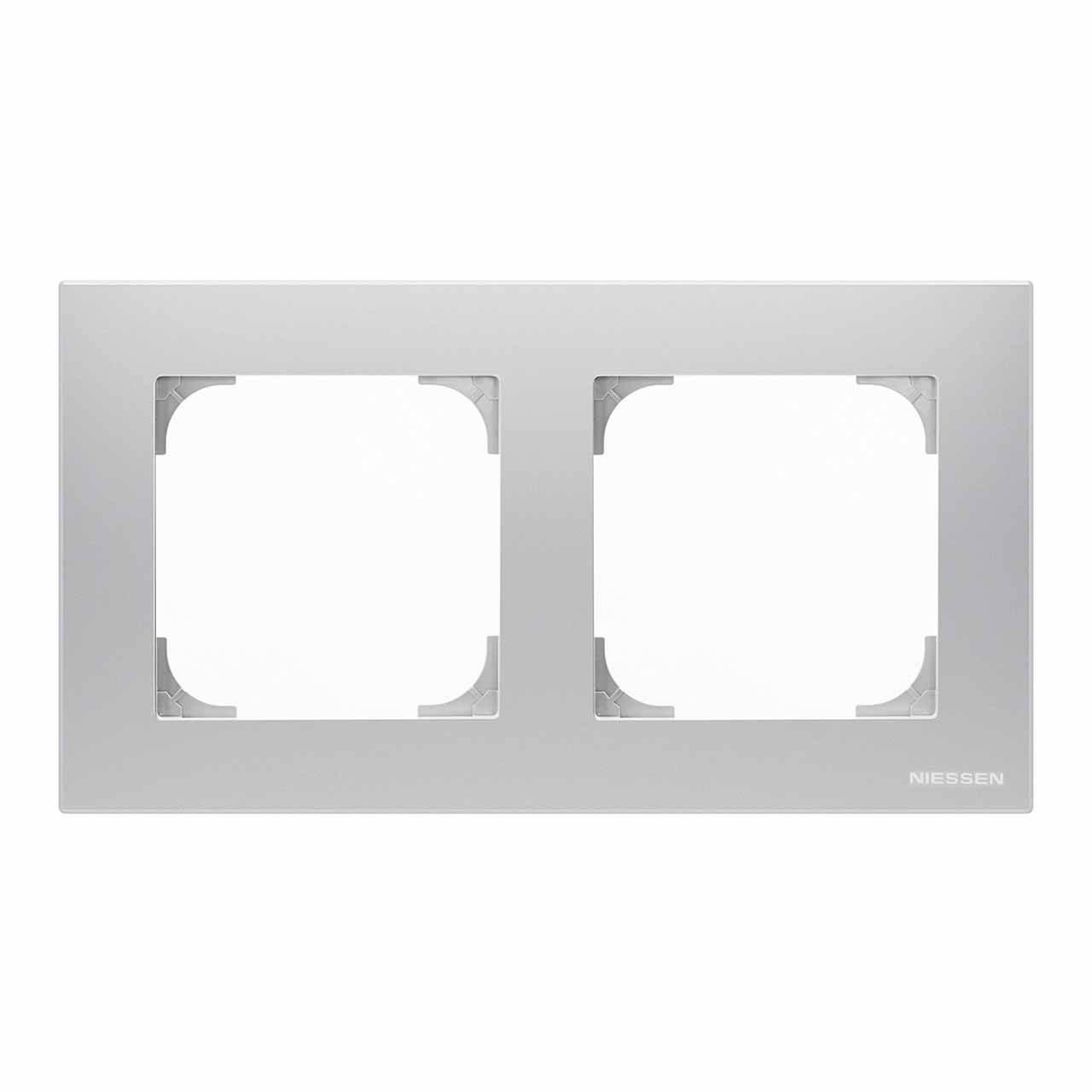 Рамка 2-постовая ABB Sky серебристый алюминий 2CLA857200A1301