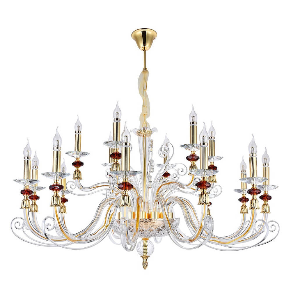 Люстра Crystal Lux Catarina SP12+6 Gold/Transparent-Cognac Catarina недорого