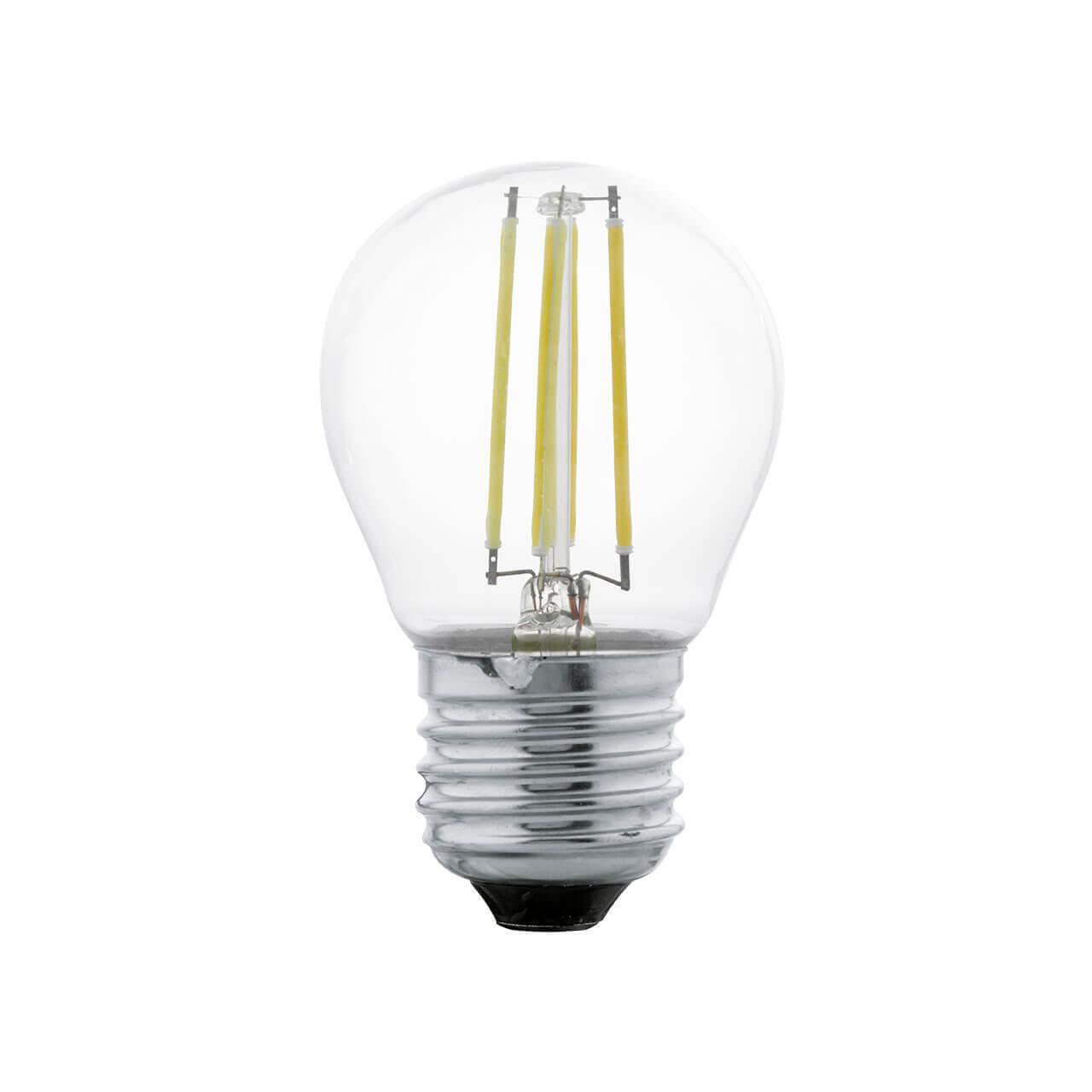 Лампа светодиодная филаментная Eglo E27 4W 2700К прозрачная 11498 лампа светодиодная [поставляется по 10 штук] eglo лампа светодиодная g45 e27 4вт 2700k 11498 [поставляется по 10 штук]