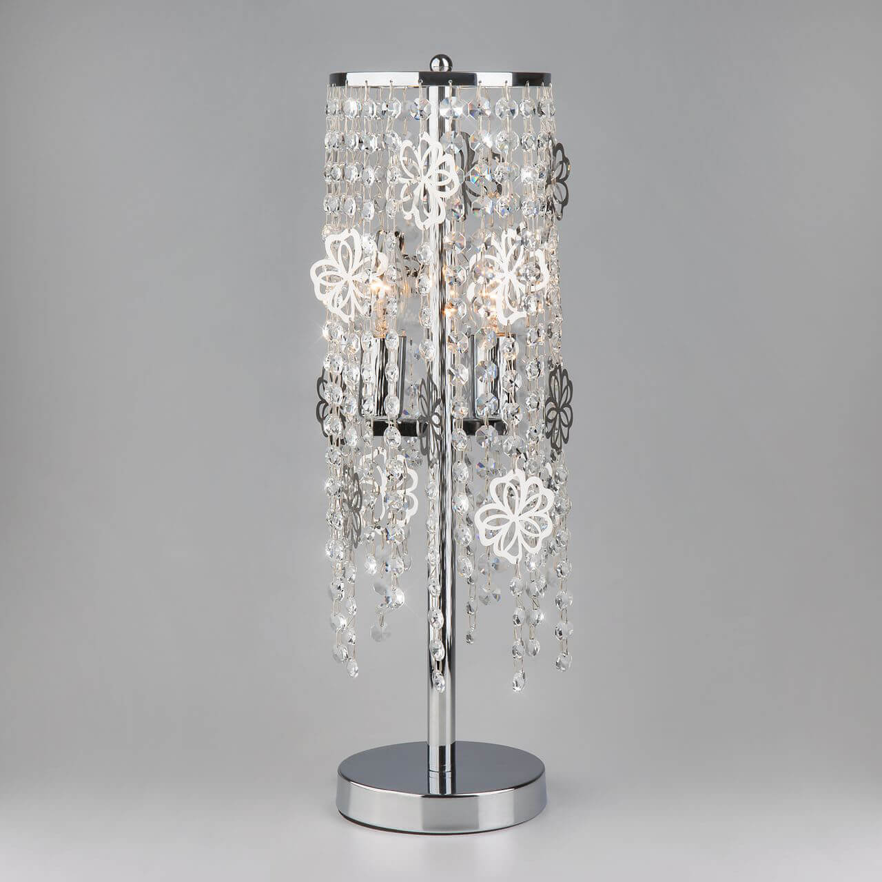 Настольная лампа Eurosvet 01035/2 хром/прозрачный хрусталь Strotskis Flower фото