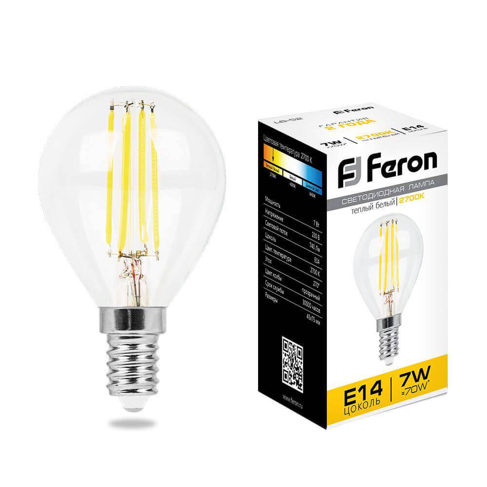 Лампа светодиодная филаментная Feron E14 7W 2700K Шар Прозрачная LB-52 25874 цена в Москве и Питере