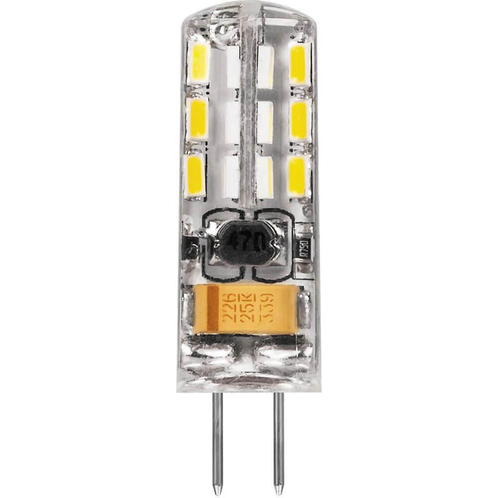 Лампа светодиодная Feron G4 2W 6400K Прямосторонняя Матовая LB-420 25859 цена