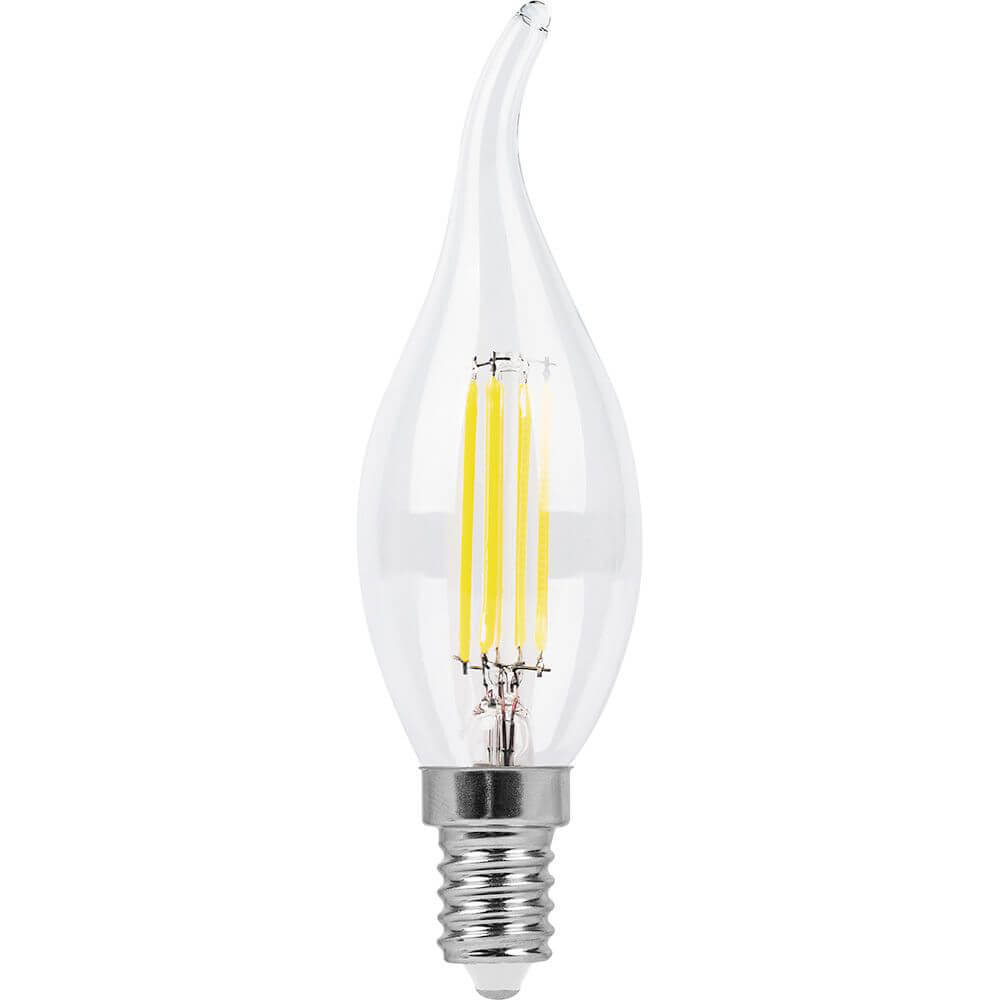 Лампа светодиодная филаментная Feron E14 9W 4000K Свеча на ветру Прозрачная LB-74 25962