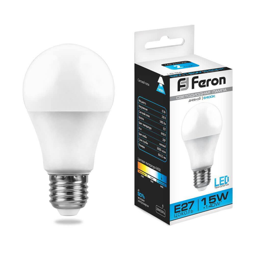Лампа светодиодная Feron E27 15W 6400K Шар Матовая LB-94 25630