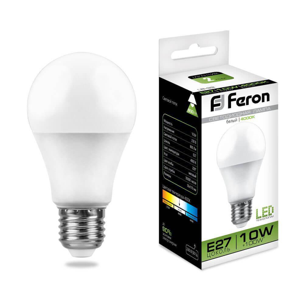 лампа светодиодная classic led d e27 10w 3300k шар матовый 4690389085536 Лампа светодиодная Feron E27 10W 4000K Шар Матовая LB-92 25458