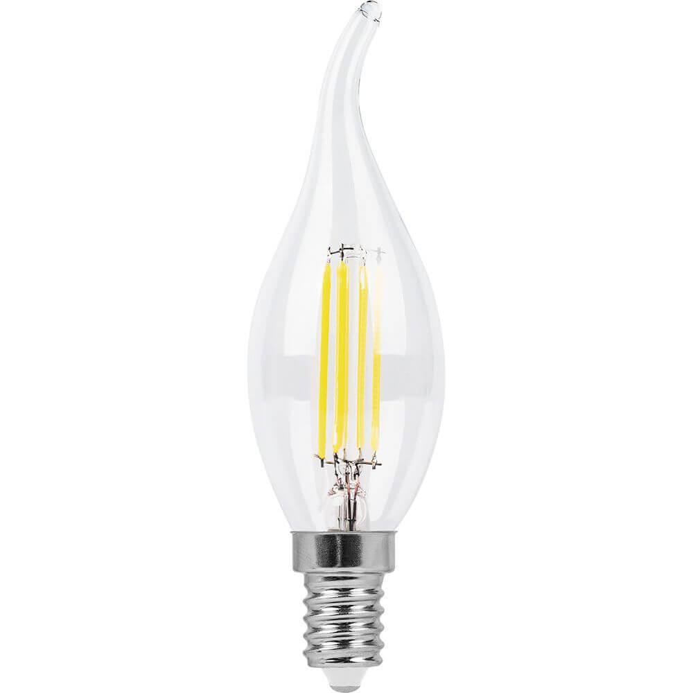 Лампа светодиодная филаментная Feron E14 9W 2700K Свеча на ветру Прозрачная LB-74 25960 цена