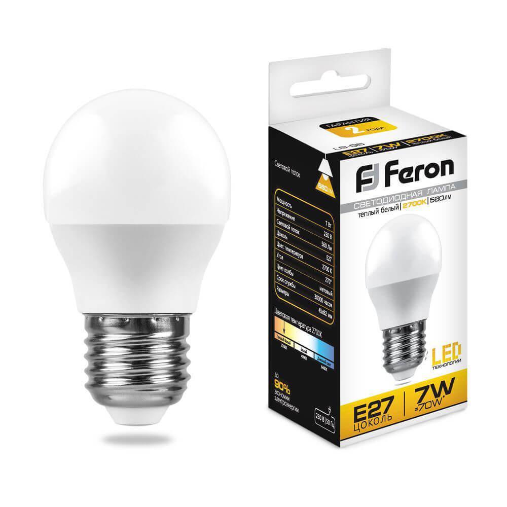 Лампа светодиодная Feron E27 7W 2700K Шар Матовая LB-95 25481 цена в Москве и Питере